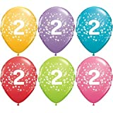 "Age 2/2nd Birthday Tropical Assorted Qualatex 11"" Latex Balloons x 5"