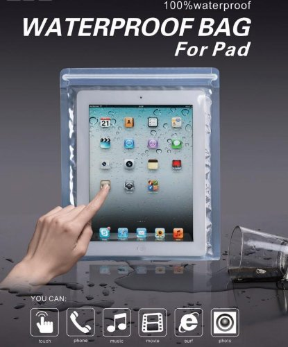 iPad用 防水ケース (全てのアイパッド対応、タッチパネル操作可能、二重ジッパーでしっかり防水、国際防塵防水規格IP68準拠)  ※9.7インチ iPad 用です。