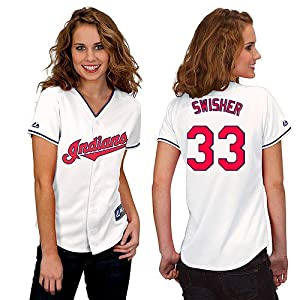 Nick Swisher Cleveland Indians Home Ladies Replica Jersey by Majestic Select Ladies... by majestic