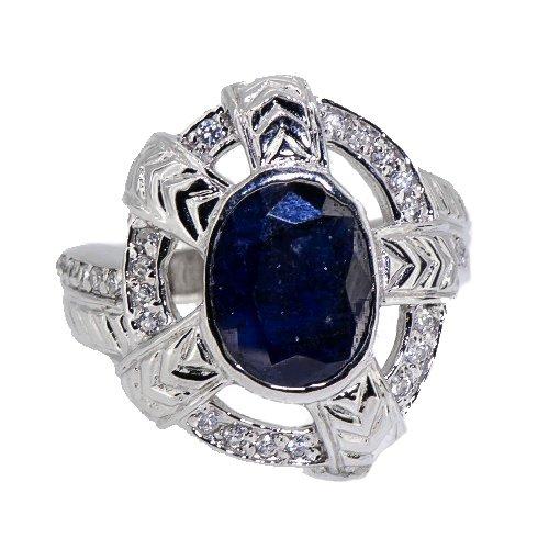 Authentic Rare Natural Blue Sapphire Men's Celtic Shield Ring 925 Silver Size 9