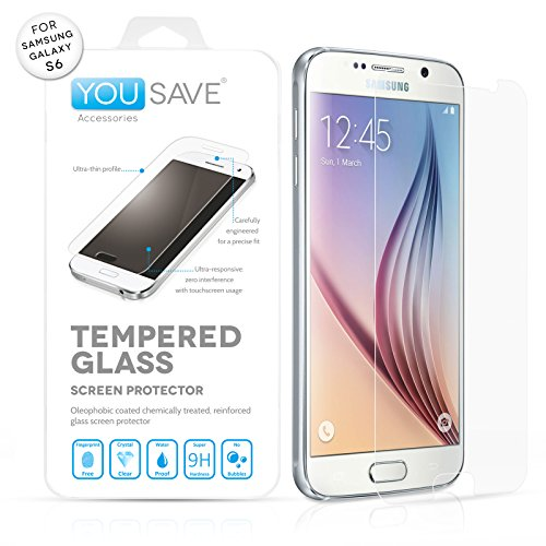 Yousave Accessories Samsung Galaxy S6 Crystal Clear Tempered Glass Screen Protector [Ultra Thin 0.3mm / 9H Hardness Rating]