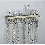 Wall Mount Necklace Holder Hanging Jewelry Organizer Closet Storage - Angelynns Schelon Necklace Rack (Black Bronze or Silver)