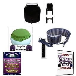 KKamp Continuous Brew Kombucha BREWER ONLY - BK w/ Stand + Essential Heat Strip + Tee/Cap Set