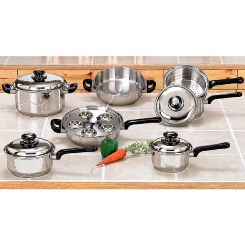 17pc Stainless Steel Waterless Cookware Set image