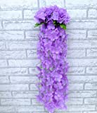 Artificial Ivy Flower Garland Plants Vine Fake Foliage Home Garden Decor (purple)