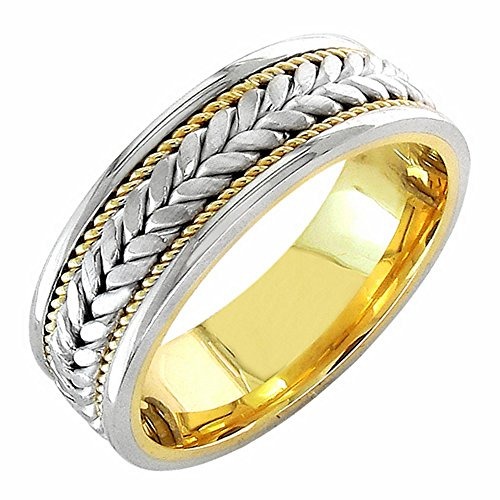 14K Rose Gold Braided Fern Style Men'S Wedding Band (7Mm) Size-8.5