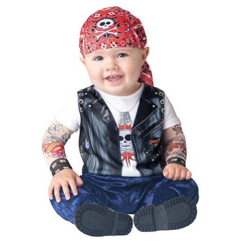 Boo Infant Boys & Girls Born to be Wild Biker Costume with Tattoo Sleeves