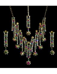 Multicolor Stone Studded Necklace, Earrings And Mang TIka - Stone And Metal