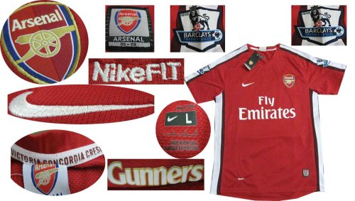 08-09 ARSENAL HOME JERSEY + FREE SHORT (SIZE M)
