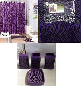 Complete bath accessory set black purple for Zebra kitchen set