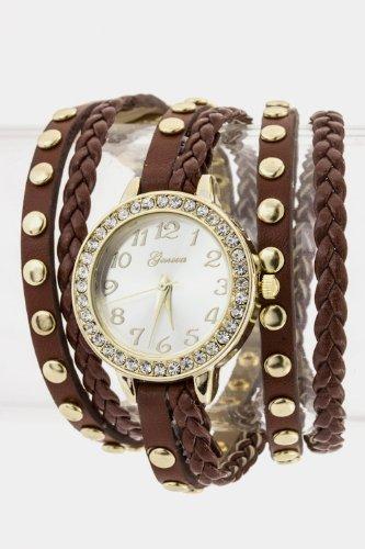 Trendy Fashion Jewelry Multi Strap Wrap Around Watch By Fashion Destination | (Brown)