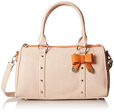 MG Collection Tilly Beige Crocodile Print Bow Accent Doctor Style Shoulder Bag, Beige, One Size