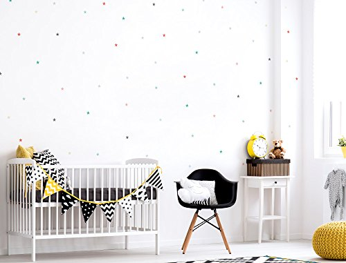 i love wandtattoo was 10109 kinderzimmer wandsticker set bunte und farbige sterne zum kleben. Black Bedroom Furniture Sets. Home Design Ideas