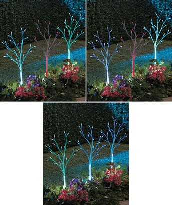 3 SOLAR COLOR-CHANGING TREES FOR LAWN &/OR CHRISTMAS YARD DECOR