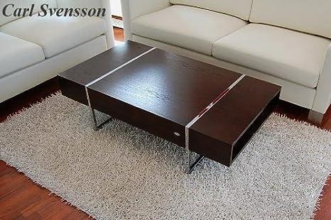 DESIGN COUCHTISCH Tisch N-111 Walnuss / Wenge Chrom Carl Svensson