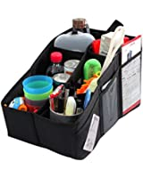 Car Organizer, AutoMuko (TM) Car Console Organizer with 6 Large Pockets, 2 Cup Holders + Adjustable Dividers for Keeping Miscellaneous Items Organized- Use in Front or Back to Store Kids' Toys, Books, Snacks etc