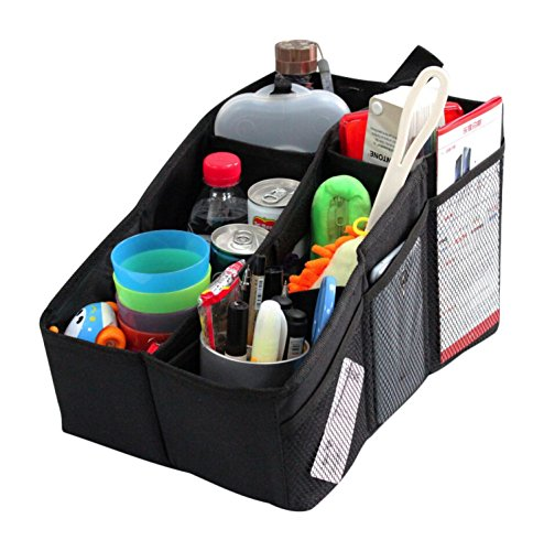 Car Organizer, AutoMuko (TM) Car Console Organizer with 6 Large Pockets, + Adjustable Dividers for Keeping Miscellaneous Items Organized- Use in Front or Back to Store Kids' Toys, Books, Snacks etc