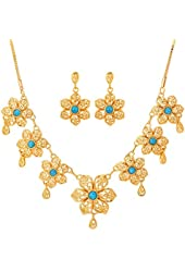 U7 New Lovely Girl's High Quality Synthetic Turquoise Stone 18K Real Gold Plated Necklace 18KGP Floral Yellow Gold Earring Fashion Stunning Jewelry Set For Women 2 Pieces