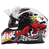 Graffiti Street Art Gloss White Dual Visor Full Face Motorcycle Helmet DOT (Large)
