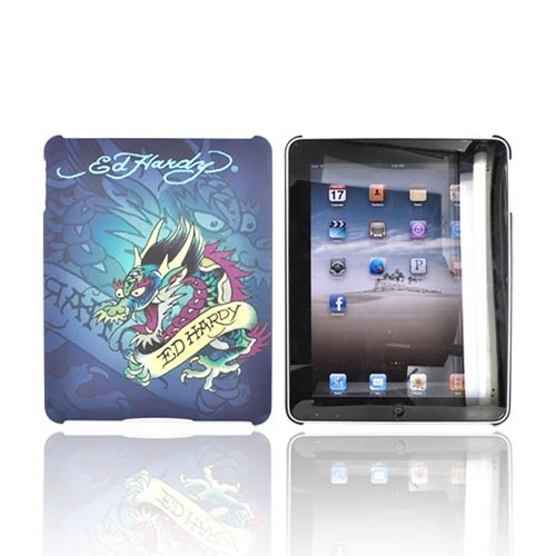 Ed Hardy For iPad Rubber Hard Cover Case BLUE DRAGON