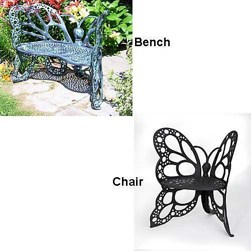 Flowerhouse FHBFB06 Black Cast Aluminum Butterfly Bench