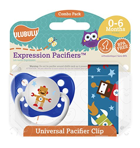 Ulubulu Robot Pacifier with Universal Pacifier Clip, 0-6 months