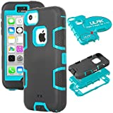 iPhone 5c Case, ULAK High Protection Hybrid 3 Layer Soft Silicone Armor Hard Inner Case Cover for Apple iPhone 5C with Clear Screen Protector (Mint Blue + Black)