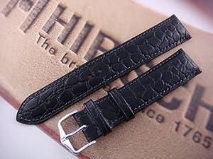 HIRSCH Aristocrat L, Crocodile Grain, 50 Black, 18 mm, Steel Buckle
