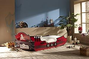 Demeyere 249501 Piraten Bett, Crazy Shark, MDF, 90 x 190 / 200 cm, rot