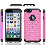 Iphone 6 Case, Meaci® Cellphone Case for Iphone 6 (4.7 Inch) 2 in 1 Case Combo Hybrid Case Glitter/bling Diamond Dual Layer Pc and Silicon Rubber Protective Case (light pink and black)