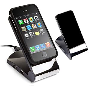 Non-Slip Cell Phone Stand with USB 2.0 4-Port Hub(Black)
