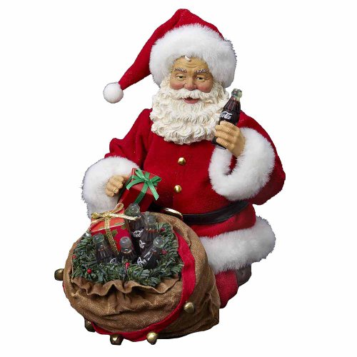 Coca-Cola Kurt Adler Fabriche Santa with Bag Figurine, 11-Inch (Coca Cola Holiday Soda Bottle compare prices)