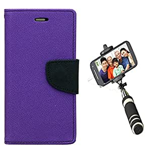 Aart Fancy Diary Card Wallet Flip Case Back Cover For HTC526 - (Purple) + Mini Aux Wired Fashionable Selfie Stick Compatible for all Mobiles Phones By Aart Store