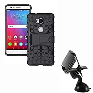 Hard Dual Tough Military Grade Defender Series Bumper back case with Flip Kick Stand for CoolPad Denzone Note3 lite + 360 Degree Car Mobile Holder Mount Bracket Holder Stand By Carla Store.