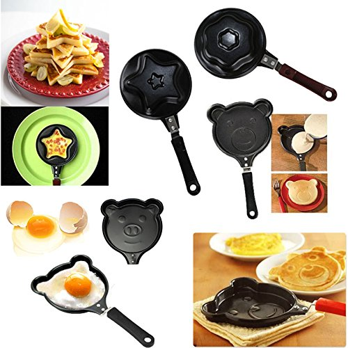 Crownroyaljack Breakfast Mini Egg Fry Pan Star/Flower/Bear/Pig Mould Pancake Omelette Cookware