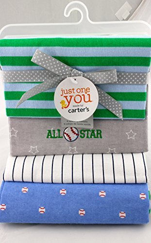 Carter's Baby Boy Receiving Blankets - Set of 4 - Baseball Allstar - 100% Cotton - 1