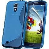 KGC DOO Custodia + Pellicola TPU WAVE BLU per Samsung I9500 Galaxy S4 - Custodia COVER CASE BLU per Samsung I 9500 Galaxy S 4 + Pellicola Protettiva Schermo