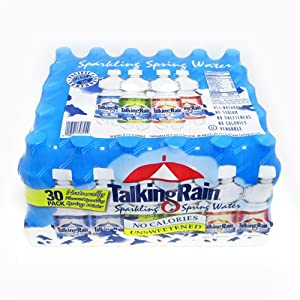 TalkingRain Sparkling Mountain Spring Water, 4-Flavor Variety, 16.9-Ounce Bottles (Pack of 30)