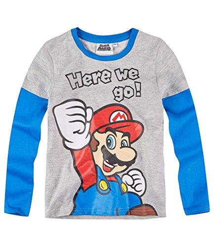 Super Mario Bros Ragazzi Maglietta maniche lunghe - grigio - 128