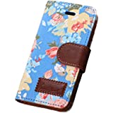 Culater� Blue Magnetic Wallet Floral Jacquard Leather Cover Case For iPhone 5C