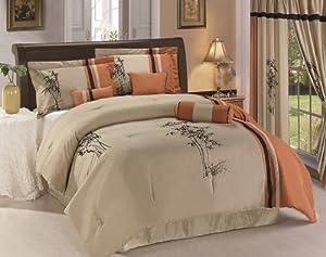 Chezmoi Collection Kariya 7-Piece Embroidery Bamboo Comforter Set, Queen, Rust/Light Taupe
