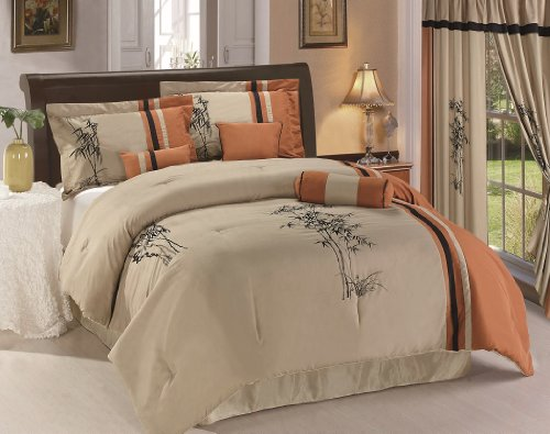 Chezmoi-Collection-Kariya-7-Piece-Embroidery-Bamboo-Comforter-Set-Queen-RustLight-Taupe