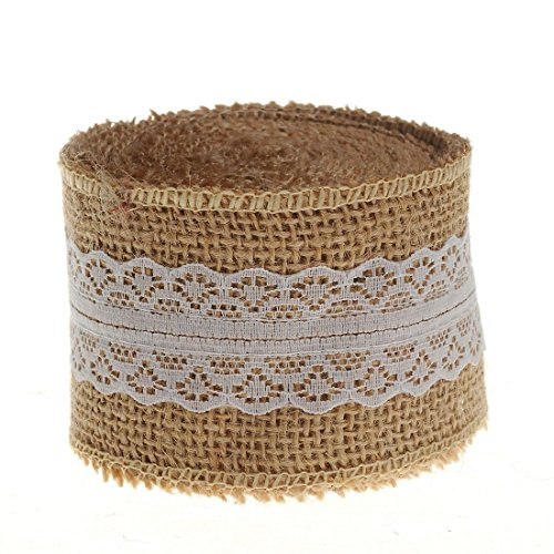 New HUJI Superior Quality Natural Jute Burlap with Lace Ribbon for Arts Crafts Wedding Cake Rustic D...