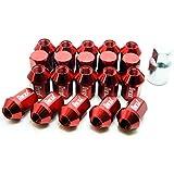 ホイールナット 20個セット アルミ M12 P1.5 34mm ショート 袋型 レッド 赤