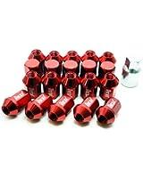 ホイールナット 20個セット アルミ M12 P1.5 52mm ショート 袋型 レッド 赤