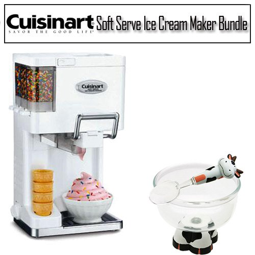 Cuisinart ICE45 White Soft Serve Ice Cream Maker + Accessory Kit