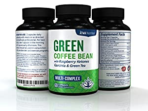 Premium Pure Blend - Green Coffee Bean Extract Raspberry Ketones Complex Garcinia Cambogia Green Tea - Highest Grade Physician Recommended - 4 Top Weight Loss Ingredients In One Supplement from Atma Nutrition