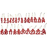 RAYHER - 56499000 - Holz Hänger Adv.Kalender-Zahlen, 6cm, mit Stern, SB-Btl 24Stück