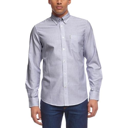 <strong>Ben Sherman< strong> Men's Bengal Stripe Mod Regular Fit Long Sleeve Casual Shirt