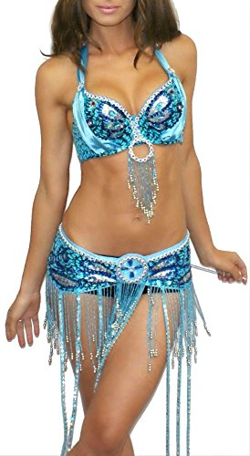Rave Wonderland Women's Turquoise Tassel Bra and Belt Outfit Large